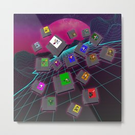 Retro 80s Synthwave Game Cartridge Collage Metal Print