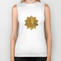 rush Biker Tanks featuring Gold Rush by Alexander Studio