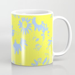 Blue Coneflowers with Yellow Background Coffee Mug