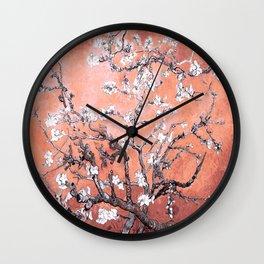 Van Gogh Almond Blossoms : Deep Peach Wall Clock