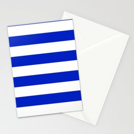 Cobalt Blue and White Wide Cabana Tent Stripe Stationery Cards