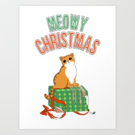 Meowy Christmas Orange Tabby Cat T-Shirt xmas Santa Claws Art Print
