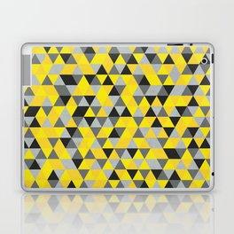 Sunny Yellow and Grey / Gray - Hipster Geometric Triangle Pattern Laptop & iPad Skin