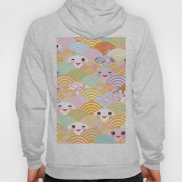 seamless pattern Kawaii with pink cheeks and winking eyes with japanese sakura flower Hoody