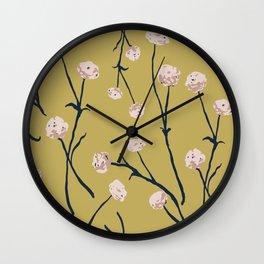 Dandelions on Ochre Wall Clock