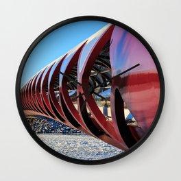 Calgary Peace Bridge in Winter Wall Clock
