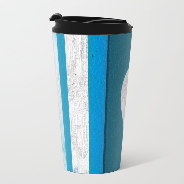Decorative Texture Blue Teal Heart Design Travel Mug