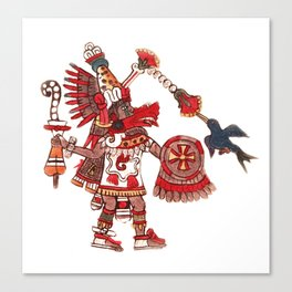 Dancing Aztec shaman warrior Canvas Print