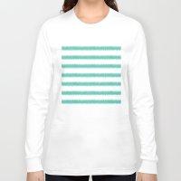 ikat Long Sleeve T-shirts featuring Ikat Stripe Sea Green by Jacqueline Maldonado