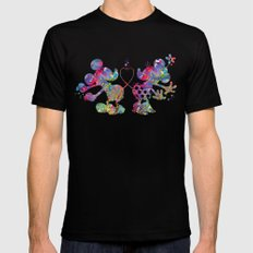 Mickey Loves Minnie MEDIUM Black Mens Fitted Tee