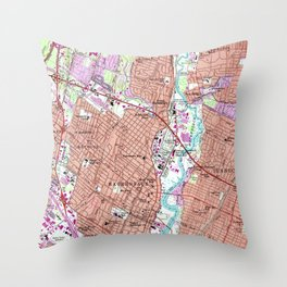 Vintage Map of Hackensack NJ (1955) Throw Pillow