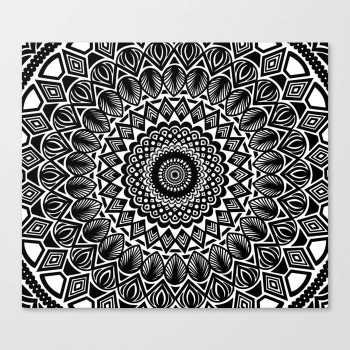 Detailed Black and White Mandala Canvas Print