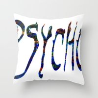 psycho Throw Pillows featuring PSYCHO by Wis Marvin