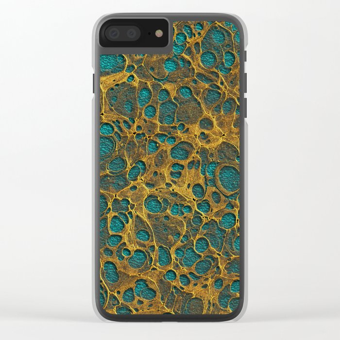 Golden Marble 02 Clear iPhone Case