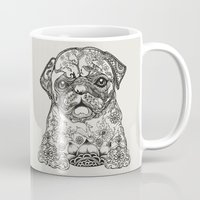persian Mugs featuring Persian Pug by Huebucket