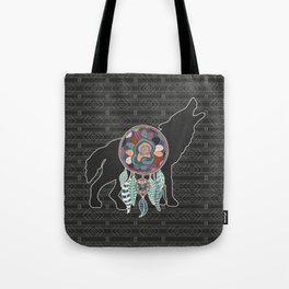 Wolf Native American Animal Spirit Dream Catcher Tote Bag