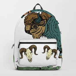 Restful Bison Refuge Amidst Desert Cacti & Skulls Backpack