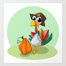 Cartoon Turkey wth Whimsical Pumpkin Art Print