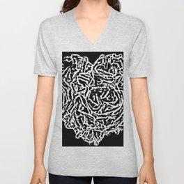 All Heart In Black And White Unisex V-Neck
