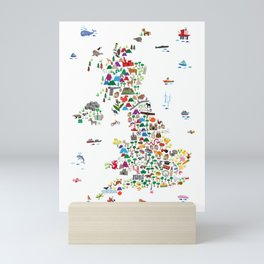Animal Map of Great Britain & NI for children and kids Mini Art Print