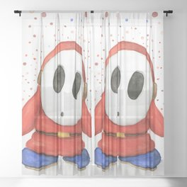 Confused Shy Guy Sheer Curtain