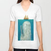 ship V-neck T-shirts featuring The Whale - colour option by Terry Fan