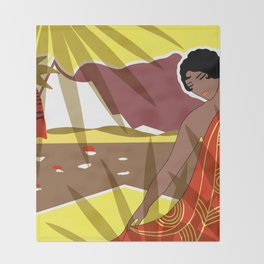 ANACAPRI: Art Deco Lady in Yellow and Red Throw Blanket