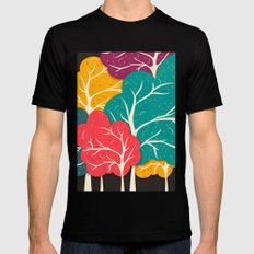 Happy Forest X-LARGE Black Mens Fitted Tee