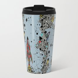 flying rockets in space and planets Travel Mug
