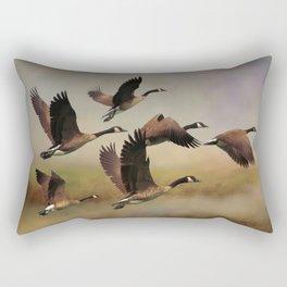 Geese On A Foggy Morning Rectangular Pillow