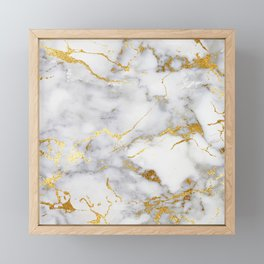 Gray And Gold Girly Marble  Framed Mini Art Print
