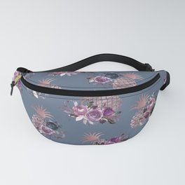 Purple Pink Gray Blue Rose Gold Floral Pineapples Fanny Pack
