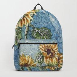Watercolor Sunflowers,Watercolor Batik, Sunflower Art,Sunflower Flower Backpack