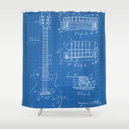 Gibson Guitar Patent - Les Paul Guitar Art - Blueprint Shower Curtain