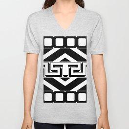 PLAIN BLACK AND WHITE MODERN ART ABSTRACT DESIGN Unisex V-Neck