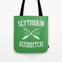 slytherin Tote Bags featuring Hogwarts Quidditch Team: Slytherin by IA Apparel