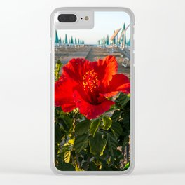 Red Beach Flower Clear iPhone Case