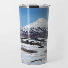 Panoramic winter mountainous landscape: snowy cone of volcano Travel Mug