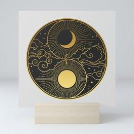 Sun, Moon, clouds, stars. Yin Yang Mini Art Print