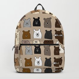 Bear Portraits on Brown Backpack