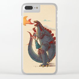 Godzilla and Christmas Clear iPhone Case