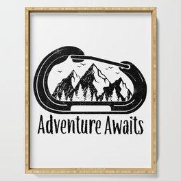 Adventure Awaits Rock Climbing Carabiner Mountains Climber Gift Serving Tray