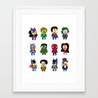 superheroes Framed Art Prints featuring superheroes by Manola  Argento