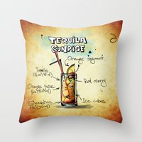 tequila Throw Pillows featuring Tequila Sunrise by jamfoto