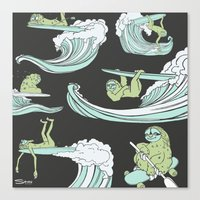 sloths Canvas Prints featuring Surfin' Sloths  by The Art of Shinn