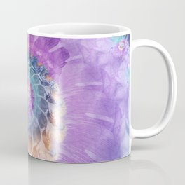 Painted Fractal Spiral in Turquoise, Purple, and Orange Coffee Mug