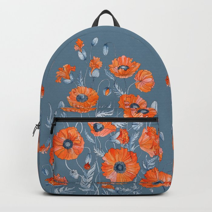 Red poppies in grey Backpack