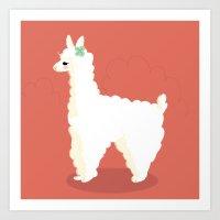 alpaca Art Prints featuring Alpaca by Laura Gómez