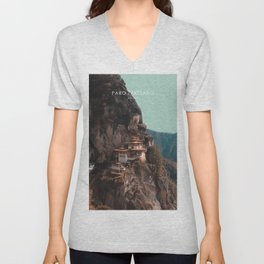 Paro Taktsang, Bhutan Travel Artwork Unisex V-Neck