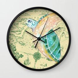 Sea Turtle Yellow Map Wall Clock